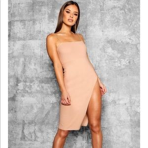Boohoo Peach Thigh Split Dress